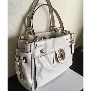 Coach Ivory/Off White Embossed Leather Carryall